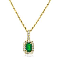 HPEGEM228 Emerald Gemstone Single Halo Pendant - yellow