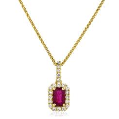 HPEGRY229 Ruby Gemstone Single Halo Pendant - yellow