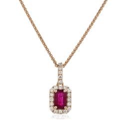 HPEGRY229 Ruby Gemstone Single Halo Pendant - rose