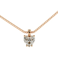 HPH7 Heart Solitaire Diamond Pendant - rose