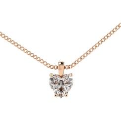 HPH7 Heart Solitaire Diamond Pendant - rose