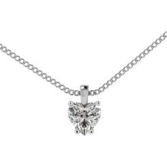 HPH7 Heart Solitaire Diamond Pendant - white