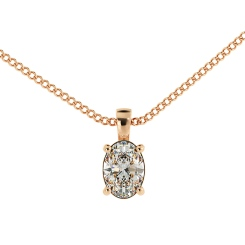 HPO53 Oval Solitaire Pendant - rose