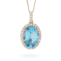 HPOGAQ225 Oval Shaped Aquamarine Halo Pendant - rose