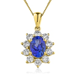 HPOGBS213 Oval Shaped Blue Sapphire Pendant - yellow