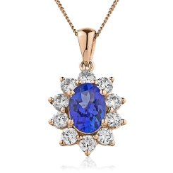 HPOGBS213 Oval Shaped Blue Sapphire Pendant - rose