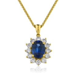 HPOGBS216 Oval Shaped Blue Sapphire Halo Pendant - yellow