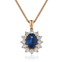 HPOGBS216 Oval Shaped Blue Sapphire Halo Pendant - rose