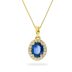 HPOGBS233 Oval Shape Blue Sapphire Single Halo Pendant - yellow