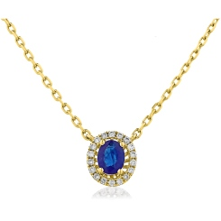 HPOGBS245 Blue Sapphire Single Halo Pendant Necklace - yellow