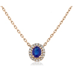 HPOGBS245 Blue Sapphire Single Halo Pendant Necklace - rose