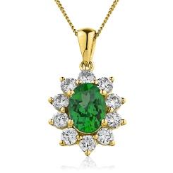 HPOGEM214 Oval Shaped Emerald Pendant - yellow