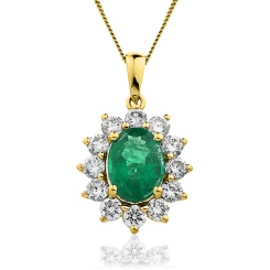 HPOGEM217 Oval Shaped Emerald Halo Pendant - yellow