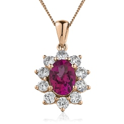 HPOGRY215 Oval Shaped Ruby Pendant - rose