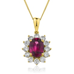 HPOGRY218 Oval Shaped Ruby Halo Pendant - yellow
