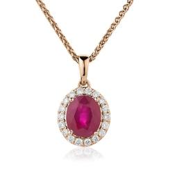 HPOGRY231 Ruby Gemstone Single Halo Pendant - rose