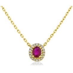 HPOGRY246 Ruby Gemstone Single Halo Pendant Necklace - yellow