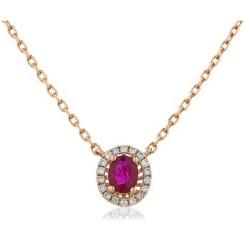 HPOGRY246 Ruby Gemstone Single Halo Pendant Necklace - rose