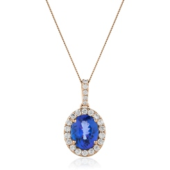 HPOGTZ226 Oval Shaped Tanzanite Halo Pendant - rose
