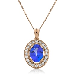 HPOGTZ230 Tanzanite Gemstone Single Halo Pendant - rose