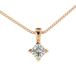 HPP38 Princess Solitaire Pendant - rose