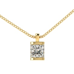 HPP5 Princess Solitaire Diamond Pendant - yellow