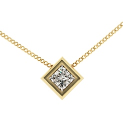 HPP6 Princess Solitaire Diamond Pendant - yellow