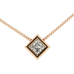 HPP6 Princess Solitaire Diamond Pendant - rose