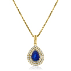 HPPEGBS222 Pear Shaped Blue Sapphire Double Halo Pendant - yellow