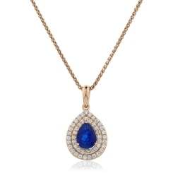 HPPEGBS222 Pear Shaped Blue Sapphire Double Halo Pendant - rose