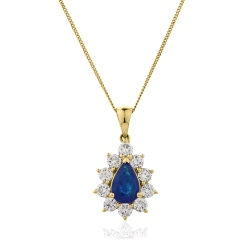HPPEGBS242 Floral Design Blue Sapphire Pendant - yellow
