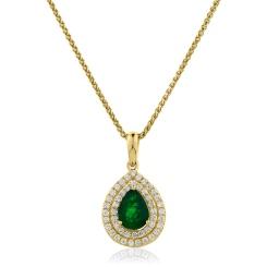 HPPEGEM223 Pear Shaped Emerald Double Halo Pendant - yellow