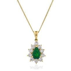 HPPEGEM243 Floral Design Emerald Pendant - yellow