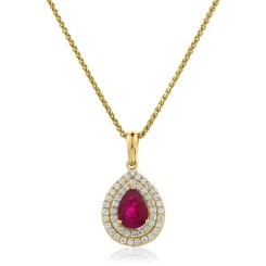 HPPEGRY224 Pear Shaped Ruby Double Halo Pendant - yellow