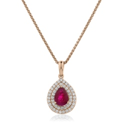 HPPEGRY224 Pear Shaped Ruby Double Halo Pendant - rose