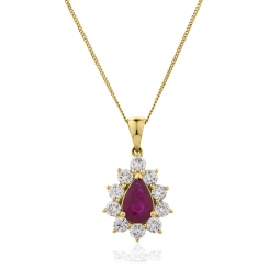HPPEGRY244 Floral Design Ruby Pendant - yellow