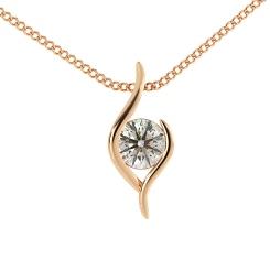 HPR1 Round Solitaire Diamond Pendant - rose