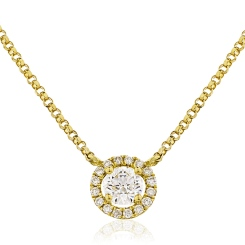 HPR146 Round cut Designer Diamond Pendant - yellow