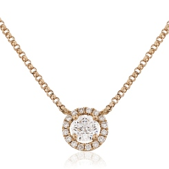 HPR146 Round cut Designer Diamond Pendant - rose
