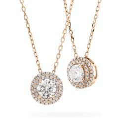 HPR149 Round cut Designer Diamond Pendant - rose