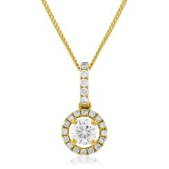 HPR150 Round cut Designer Diamond Pendant - yellow