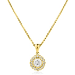 HPR151 Round cut Designer Diamond Pendant - yellow