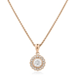 HPR151 Round cut Designer Diamond Pendant - rose