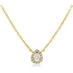 HPR152 Round cut Designer Diamond Pendant - yellow
