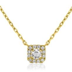 HPR153 Round cut Designer Diamond Pendant - yellow