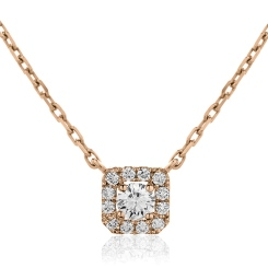 HPR153 Round cut Designer Diamond Pendant - rose