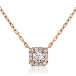 HPR153 Round cut Designer Diamond Pendant - rose
