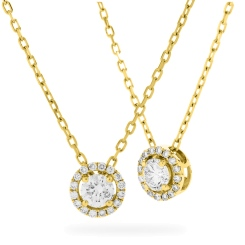 HPR155 Round cut Designer Diamond Pendant - yellow