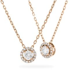HPR155 Round cut Designer Diamond Pendant - rose