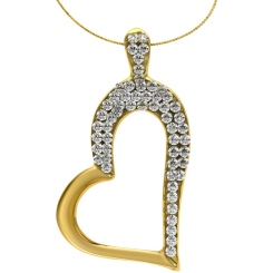 HPR16 Round Heart Shape Diamond Pendant - yellow